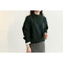 UPTOWNHOLIC - Mock-Neck Slit-Side Knit Top