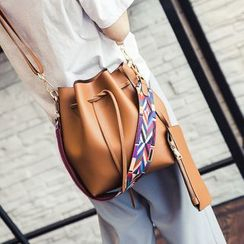 Ginadore - Wide-Strap Bucket Cross Bag with Clutch