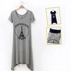 Mamaladies - 短袖印花孕婦T恤裙
