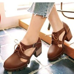 Freesia - Lace-Up Cutout Chunky Heel Platform Shoes