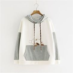 Angel Love - Bear Applique Color Block Hoodie