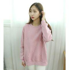 Dodostyle - Faux-Pearl Trim Sweatshirt