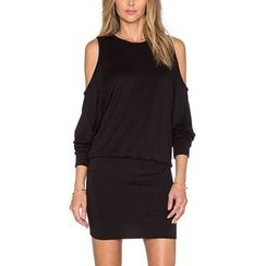 Rebecca - Cutout Shoulder Plain Dress