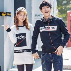 Igsoo - Couple Matching Lettering Sweatshirt