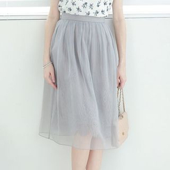 Tokyo Fashion - Paneled Tulle A-Line Skirt