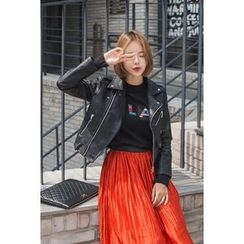 migunstyle - Diagonal-Zip Faux-Leather Jacket