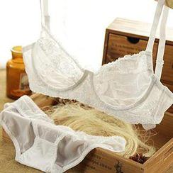 HYG Lingerie - Set: Sheer Lace Bra + Panties