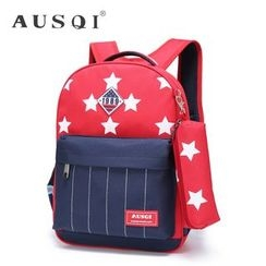 Ausqi - Kids Color-Block Printed Backpack with Pencil Case