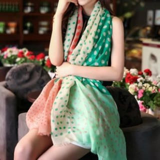 Cuteberry - Fringed Dotted Scarf