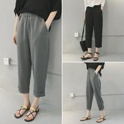 Moon City - Elastic Waist Cropped Baggy Pants