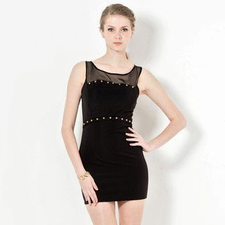 YesStyle Z - Studded Sleeveless Illusion Mini Dress