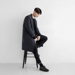 Seoul Homme - Single-Breasted Stripe Coat
