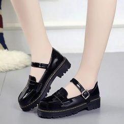 Yoflap - Faux Patent Leather Platform Shoes