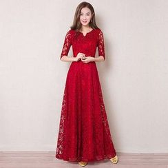 Royal Style - Elbow Sleeve A-Line Lace Evening Gown