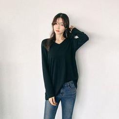 Seoul Fashion - V-Neck Wool Blend T-Shirt