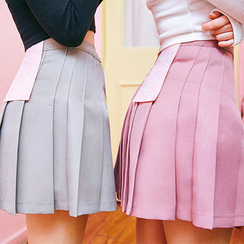 chuu - Colored A-Line Mini Pleat Skirt