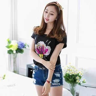 J-ANN - Sequined Flower T-Shirt