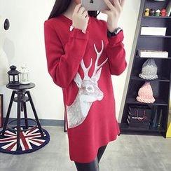 FR - Deer Print Long Sweater