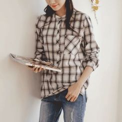 JUSTONE - Half-Placket Dip-Back Plaid Shirt