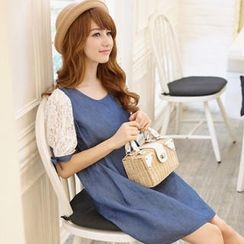 Tokyo Fashion - Tied Lace-Sleeve Denim Dress