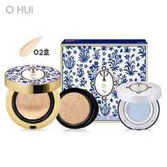 O HUI - Ultimate Cover Cushion Moisture (Flower Edition) Set: Cushion (#02 Honey Beige) SPF50+ PA+++ With Refill + Primer Cushion