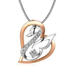 MaBelle - 18K Rose White Gold Diamond Swan in Love Heart Shape Pendant Necklace (0.12cttw) (FREE 925 Silver Box Chain, 16')