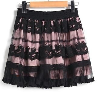 9mg - Lace-Trim Mesh-Overlay A-Line Skirt