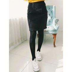 LOLOten - Brushed-Fleece Lined Mini Pencil Skirt