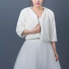 Bridal Workshop - Elbow Sleeve Crop Faux Fur Jacket