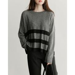 UPTOWNHOLIC - Contrast-Trim Ribbed Knit Top