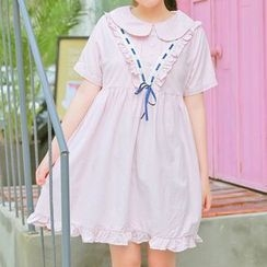 Moricode - Frilled Short-Sleeve Babydoll A-Line Dress