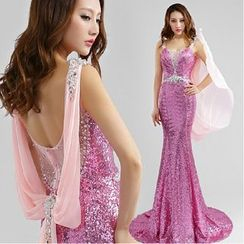 Gracia - Sequined Sleeveless Trained Mermaid Evening Gown