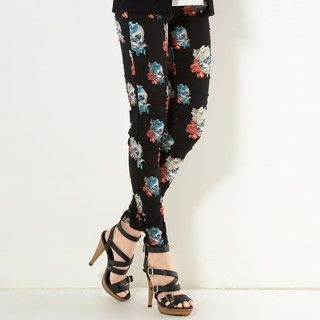 YesStyle Z - Shirred Print Leggings