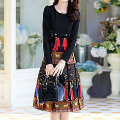 Romantica - Wool Blend Long-Sleeve Printed Dress