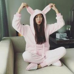 Honey Diary - Pajama Set: Rabbit Ear Hoodie + Fleece Pants