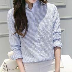 Cobogarden - Stand Collar Striped Shirt