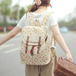 SUPER LOVER - Lace-Trim Chicken-Print Backpack