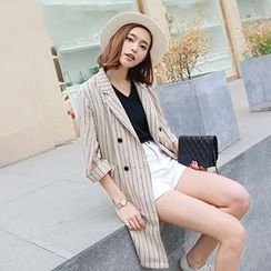 Romantica - 3/4-Sleeve Striped Trench Coat