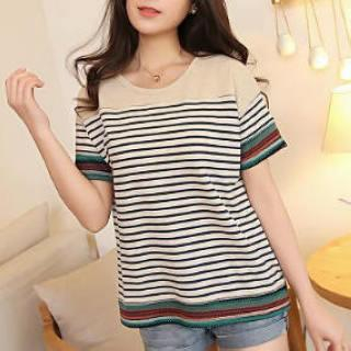 JVL - Short-Sleeved Striped T-Shirt