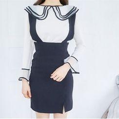 Deedlit - Set: Ruffled Blouse + Jumper Skirt