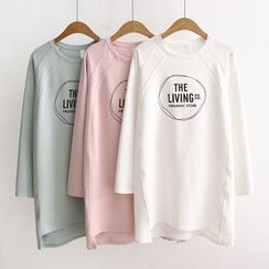 Angel Love - Long-Sleeve Lettering Long T-Shirt