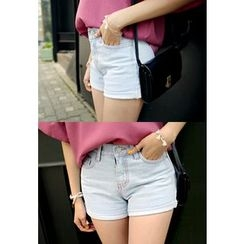 REDOPIN - Cuffed-Hem Denim Shorts