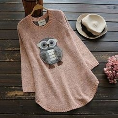 YOYO - Applique Owl Long Sweater