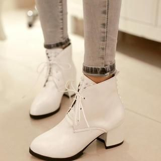 Pangmama - Lace-Up Studded Ankle Boots