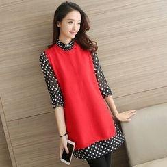 Shomez - Set: 3/4-Sleeve Dotted Sheer Dress + Knit Vest