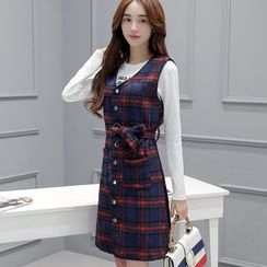 Eighoo - Set: Letter Embroidered Long Sleeve Top + Plaid Pinafore Dress