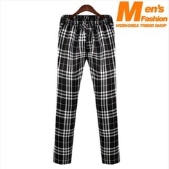 WIZIKOREA - Drawstring-Waist Check Pants