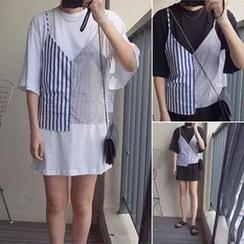 November Rain - 套裝: 短袖T恤裙衣 + 條紋吊帶背心上衣