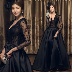 KAKAGA - V-neck Lace Panel Evening Gown