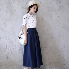 SEYLOS - Set: Short-Sleeve Dotted Shirt + Maxi Skirt